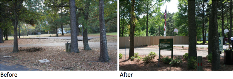 Check out what volunteers accomplished at Midway Park in this before-and-after photo. Photo by Renee Buckner.